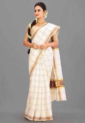 Kerala Kasavu Cotton Saree in Off White