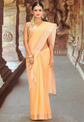 Kerala Kasavu Cotton Saree in Peach