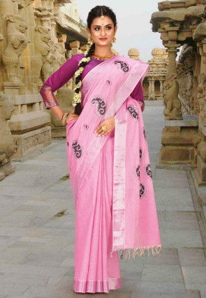 Kerala Kasavu Cotton Saree in Pink