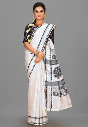 Kerala Kasavu Cotton Saree in Silver