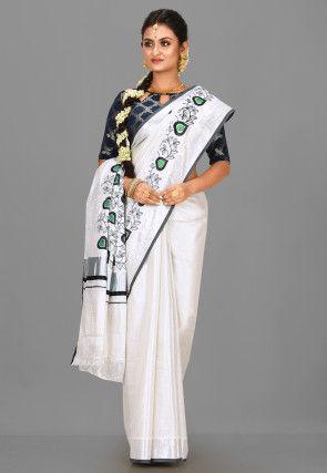 Kerala Kasavu Cotton Saree in Silver