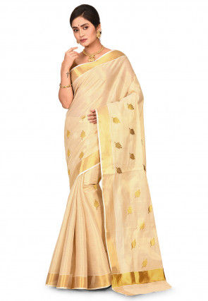 Kerala Kasavu Embroidered Cotton Saree in Beige and Golden