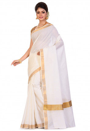 Kerela Kasavu Pure Cotton Saree in Off White