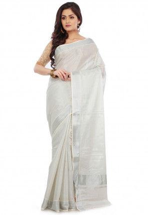 Kerela Kasavu Tissue Saree in Grey