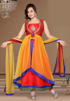 Anarkali Jacket Style Suit in Red and Yellow