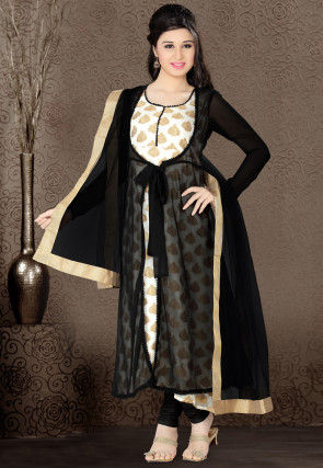 Anarkali Double Layered Suit In Black and Off White