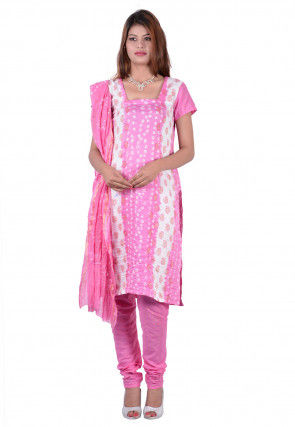 Printed Cotton Straight Cut Suit in Pink and White