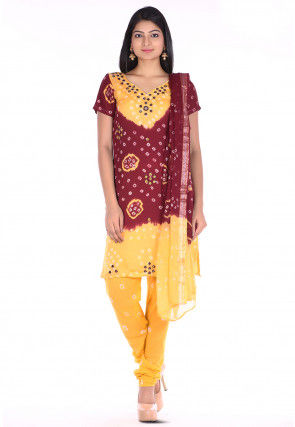 Bandhej Cotton Straight Suit in Maroon