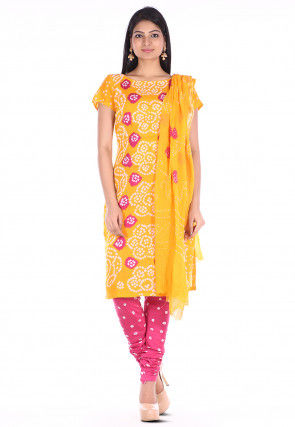Bandhej Cotton Straight Suit in Yellow