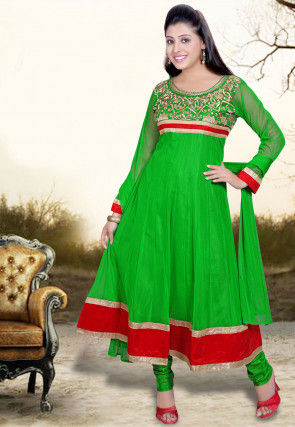 Embroidered Net Anarkali Suit in Green