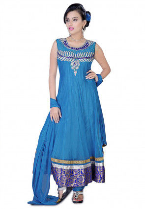 Embroidered Anarkali Suit in Blue