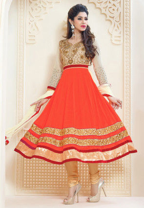 Embroidered Anarkali Georgette Suit in Orange