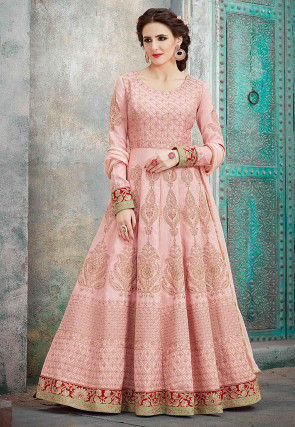 Embroidered Art silk Abaya Style Suit in Peach