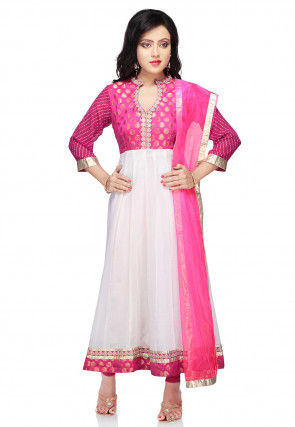 Plain Georgette Anarkali Suit In White and Fuchsia