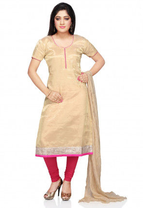 Straight Cut Pure Banarasi Tissue Suit in Beige