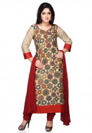 Printed Straight Cut Bhagalpuri Silk Suit in Beige
