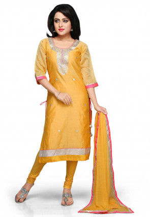 Gota Patti Embroidered Straight Cut Suit in Yellow