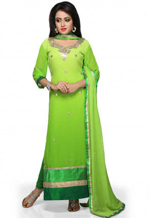 Gota Patti Embroidered Georgette Straight Cut Suit in Ombre Green
