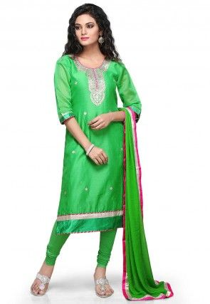 Gota Patti Embroidered Chanderi Silk Straight Cut Suit in Green