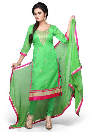 Embroidered Straight Cut Suit In Green
