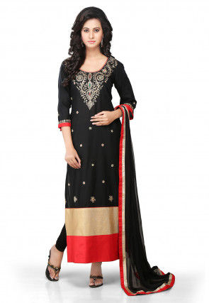 Embroidered Straight Cut Suit in Black