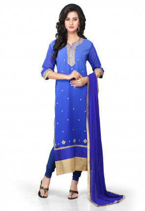 Embroidered Straight Cut Suit in Shaded Blue