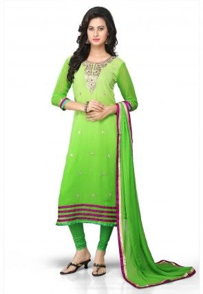 Gota Patti Embroidered Straight Cut Suit in Shaded Green