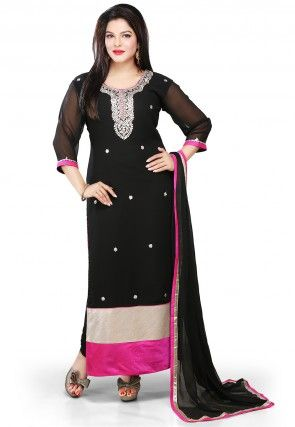 Embroidered Georgette Straight Cut Suit in Black