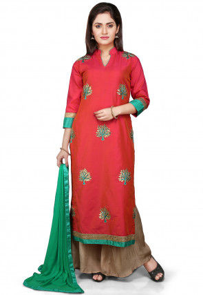 Embroidered Straight Cut Cotton Silk Suit in Red