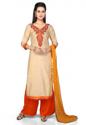 Embroidered Pakistani Cotton Silk Suit in Beige