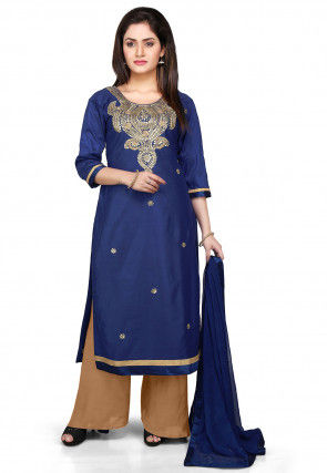 Embroidered Pakistani Cotton Silk Suit in Navy Blue