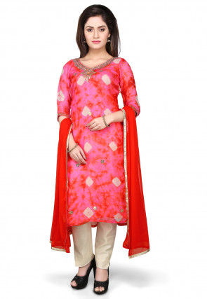 Embroidered Straight Cut Pure Kota Silk Suit in Red and Pink