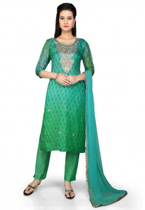 Embroidered Straight Cut Pure Kota Silk Suit in Green