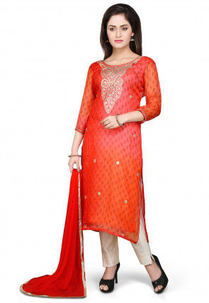 Embroidered Pure Kota Silk Straight Suit in Orange
