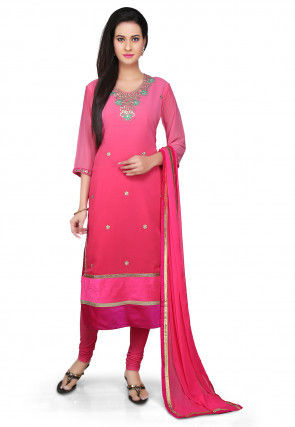 Embroidered Straight Cut Georgette Suit in Pink