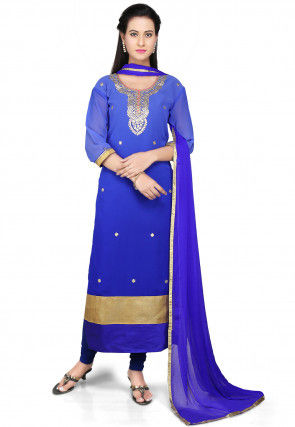Embroidered Straight Cut Georgette Suit in Blue