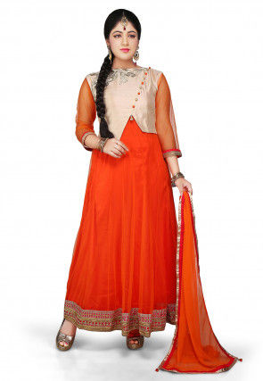 Embroidered Jacket Style Abaya Net Suit in Orange