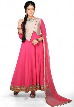 Embroidered Jacket Style Abaya Georgette Suit in Pink