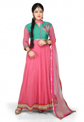 Embroidered Abaya Style Georgette Suit in Pink and Green