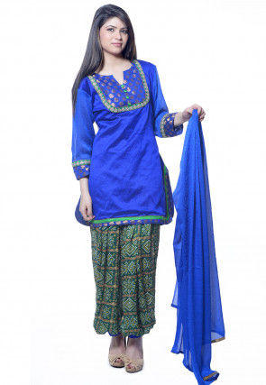 Plain Dupion Silk Punjabi Suit in Blue