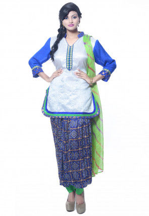 Plain Dupion Silk Punjabi Suit in White