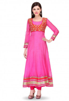 Embroidered Pure Kota Silk Jacket Style Anarkali Suit in Fuchsia