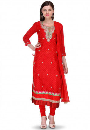Embroidered Pure Kota Silk Straight Cut Suit in Red