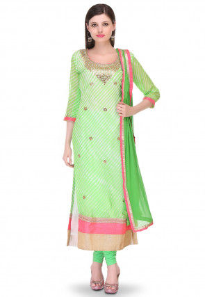 Embroidered Pure Georgette Straight Cut Suit in Light Green