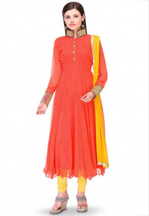 Printed Georgette Anarkali Suit in Orange