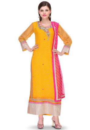 Embroidered Pure Georgette Straight Cut Suit in Yellow