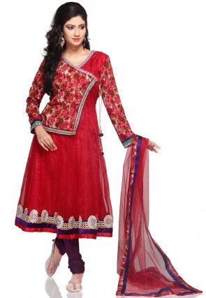 Embroidered Shimmer Net Angrakha Style Anarkali Suit in Red