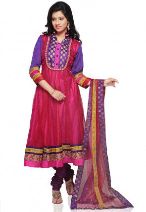 Plain Net Anarkali Suit in Red