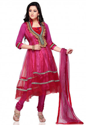 Embroidered Net Anarkali Suit in Fuchsia