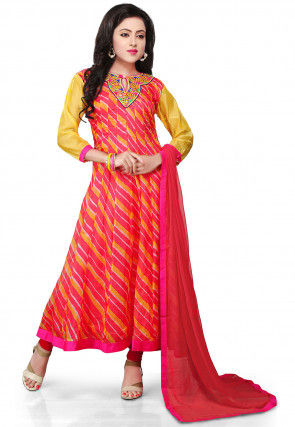 Printed Pure Kota Tissue Anarkali Suit in Fuchsia and Yellow